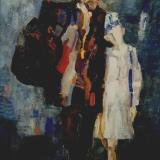 LONGARETTI_Uomo di teatro e bambino, anni 90, olio su tela, 80 x 60 cm