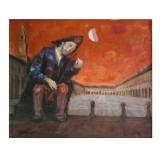 LONGARETTI, Povero violinista nella Piazza Ducale di Vigevano, 1992, olio su tela, 50 x 60 cm