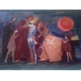 LONGARETTI, Senza titolo (Maternità con personaggi), anni 70, olio su cartone telato, 51.5 x 73.5 cm