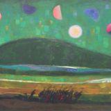 LONGARETTI_La collina verde scura e i fuggiaschi, 2007, olio su tela, 120 x 180 cm