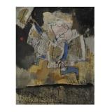 ROGNONI, Ultime notizie, 1991, olio su tela, 100 x 81 cm