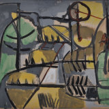 BIROLLI_Trebbiatrici, 1953, tecnica mista, 50 x 70 cm