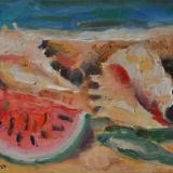 LONGARETTI_Natura morta con due conchiglie e anguria_2013_olio su tela_20 x 30 cm