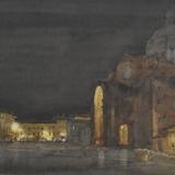 FERRARINI_Mantova, Piazza Alberti, notturno, 1995, acquerello, 38 x 57 cm