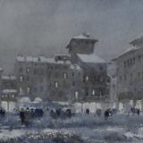 FERRARINI_Mantova, Piazza Erbe nevicata, 1994, acquerello, 33 x 55 cm