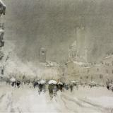 FERRARINI_Mantova, nevicata in piazza Sordello, 1991, acquerello, 29 x 39 cm