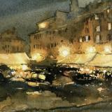 FERRARINI_Mantova, notturno in piazza Erbe, 1984, acquerello, 26 x 36 cm