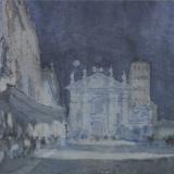FERRARINI_Mantova, piazza Sordello dal voltone notturno, 1994, acquerello, 18.5 x 27 cm