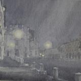 FERRARINI_Mantova, piazza Sordello notte foschia, 1990, acquerello, 36 x 44 cm