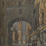FERRARINI_Mantova. Voltone verso Broletto, 2000, acquerello, 56.5 x 42 cm