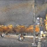 FERRARINI_Piazza Sordello da palazzo Vescovile, 1999, acquerello, 30.5 x 57.5 cm