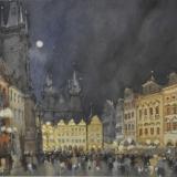 FERRARINI_Praga notturno, 1996, acquerello, 27 x 37 cm