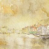 FERRARINI_Venezia (gialla), 1990, acquerello, 14.5 x 35 cm