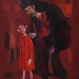 LONGARETTI_ Mendicanti su fondo rosso, 1998, olio su tela, 50x40 cm