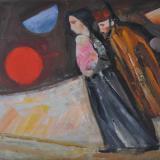 LONGARETTI_Famiglia del musicante con sole e tre lune, 2011, olio su tela, 30 x 40 cm