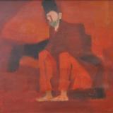 LONGARETTI_Figura in rosso, 1992, olio su tela, 50 x7 0 cm
