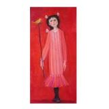 LONGARETTI_Flora su fondo rosso dall'abito rosa, 2007, olio su tela, 100 x 50 cm