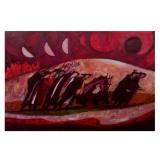 LONGARETTI_Fuggiaschi in n ero e carrettino, 2002, olio su tela, 120 x 180 cm