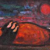 LONGARETTI_Le tre madri e la montagna rossa, 2003, olio su tavola, 50 x 80 cm