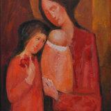 LONGARETTI_Madre con bambino e ragazzina, 2014, olio su tela, 70 x 50 cm