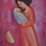 LONGARETTI_Madre in rosa su fondi rosa, 2011, olio su tela, 40 x 30 cm
