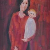 LONGARETTI_Madre in rosso su fondo lacca_2012_olio su tela_40 x 30 cm