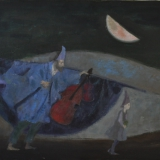 LONGARETTI_Musicanti in cammino, 1985, olio su tela, 50 x 65 cm