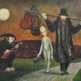 LONGARETTI_Notturno 1Vecchio ambulante, bambino e musicante, 2007, olio su tela, 130 x 195 cm