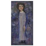 LONGARETTI_Poesia, Flora dall'abito viola, 1990, olio su tela, 70 x 35 cm