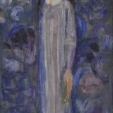 LONGARETTI_Poesia, Flora in azzurro e viola, 1990, olio su tela, 70 x 35 cm
