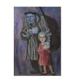 LONGARETTI_Vecchio mendicante e bambino, 1988, olio su tela, 81 x 54 cm
