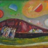 LONGARETTI_Viandanti, Monastero e la montagna rossa, 2009, olio su tela, 40 x 50 cm