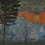 CASCELLA_PORTOFINO, anni 80, olio su tela, 50 x 70 cm