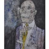 ROGNONI_ Uomo in grigio, 1997, tecnica mista su carta, 54 x 39 cm