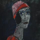 ROGNONI_Donna col cappello rosso, 1987, olio su tela, 55 x 46 cm