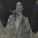 ROGNONI_Figura in grigio, 1985, olio su tela, 100 x 81 cm