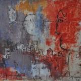 ROGNONI_Paese con due lune, 1964, olio su tela, 81 x 100 cm