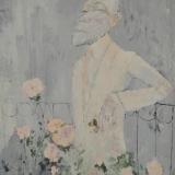 ROGNONI_uomo tra le rose, 1973, olio su tela, 100 x 81 cm