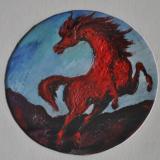 SASSU_Cavallo rosso in fuga, 1961, olio su cartone, diam 24 cm
