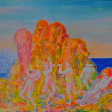 SASSU_Epifania di Dioniso, 1995, acrilico su cartone, 36.3 x 50.6 cm