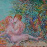 SASSU, Salmace ed Ermafrodito, 1987, olio su tela, 50 x 65 cm