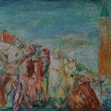 SASSU_Carnevale di Venezia, anni 50, olio su tela, 71 x 119 cm