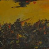 SASSU_Battaglia antica,1954,olio su tavola, 24.5 x 37.5 cm