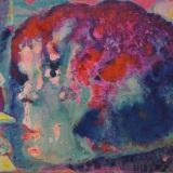 SASSU_Mujer del Barrio chino, 1986, olio e acrilico su cartone telato, 12 x 18 cm