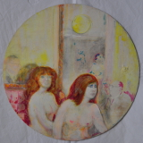 SASSU_Le due bionde, 1975, olio e acrilico su cartone telato, diam 35.5 cm