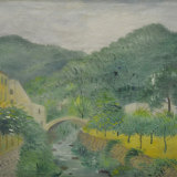 UMBERTO LILLONI, PAESAGGIO LIGURE, anni 50, olio su tela, 50 x 65 cm