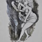 GUTTUSO_Lo stupro, 1977, gouche  su carta, 36x25cm