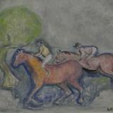 CESETTI_Fantini in corsa, 1964, olio su tela, 50x 60 cm