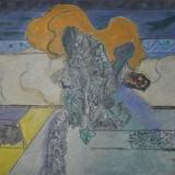 MELONI_Giardino con cespuglio, 1969, olio su tela, 73 x 92 cm