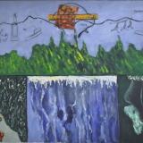 MELONI_Passeggiata domenicale, 1974, olio e collage su tela, 72 x 93 cm